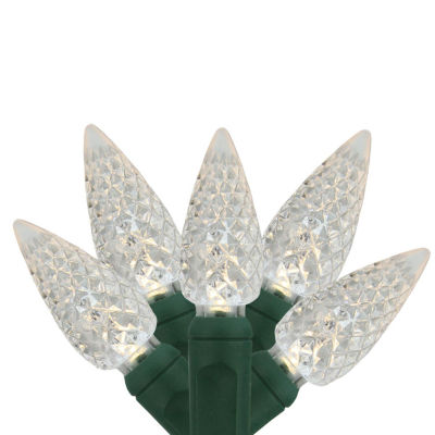 """Set Of 35 Warm White LED C6 Faceted Commercial Grade Christmas Lights 6"""" Spacing with Green Wire"""""""