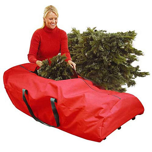 "56"" Heavy Duty Large Red Rolling Artificial Christmas Tree Storage Bag For 7.5' Trees"""