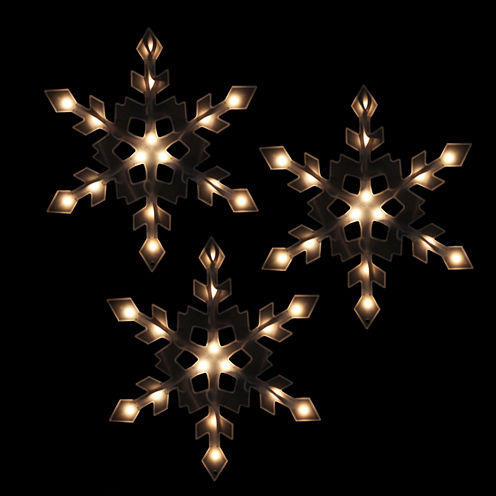 Set of 3 Clear Lighted Snowflake Icicle Christmas Lights with White Wire