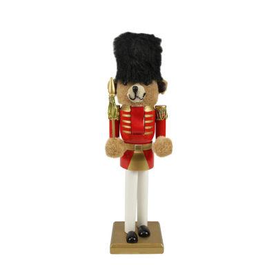 "14.25"" Wooden Red & Gold Nutcracker Bear Soldier"