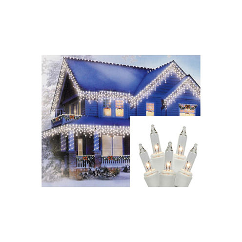 Set of 300 Shimmering Clear Mini Icicle Christmas Lights with White Wire