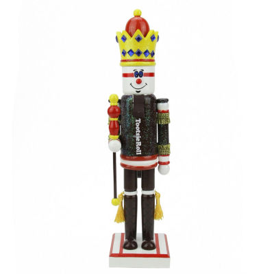 "14"" Brown & Red Tootsie Roll King Wooden Nutcracker"