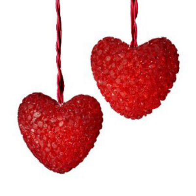 Set Of 10 Red Heart Lights with Red Wire