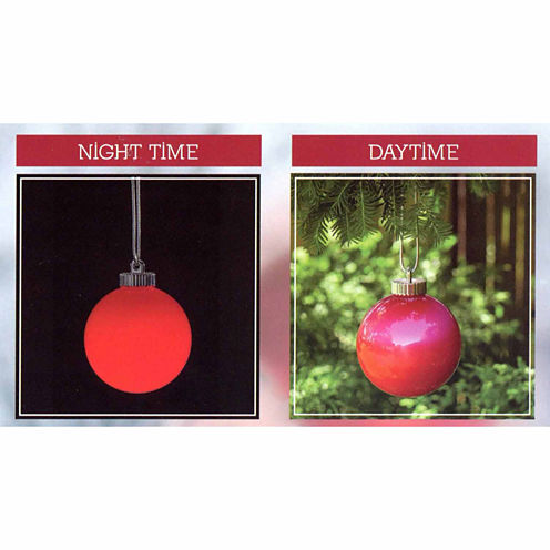 Set Of 3 LED Lighted Red Battery Operated Shatterproof Ball Ornament Lights