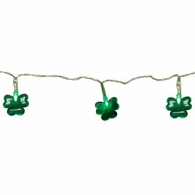 Set Of 20 Green LED Mini St Patrick'S Day Shamrock Lights With Timer with Clear Wire