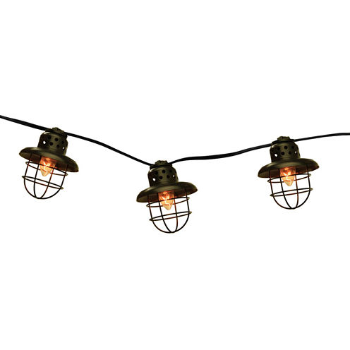 Set Of 10 Black Metal Caged Fisherman Lantern Patio Lights with Black Wire