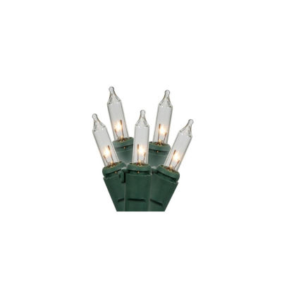 """Set Of 150 Clear Chasing Mini Christmas Lights 3"""" Spacing With Green Wire"""