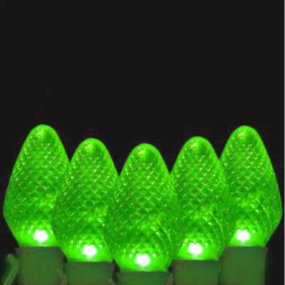 Set Of 100 Faceted Transparent Green LED C7 Christmas Lights with Green Wire