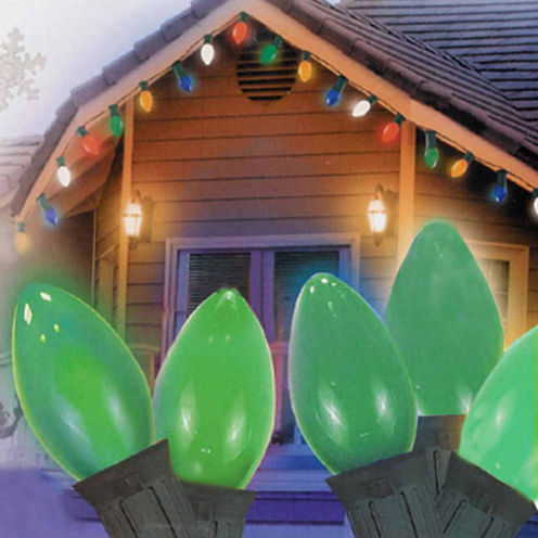 "Set Of 25 Opaque Green C7 Christmas Lights 12"" Bulb Spacing 20 Wag with Green Wire"""