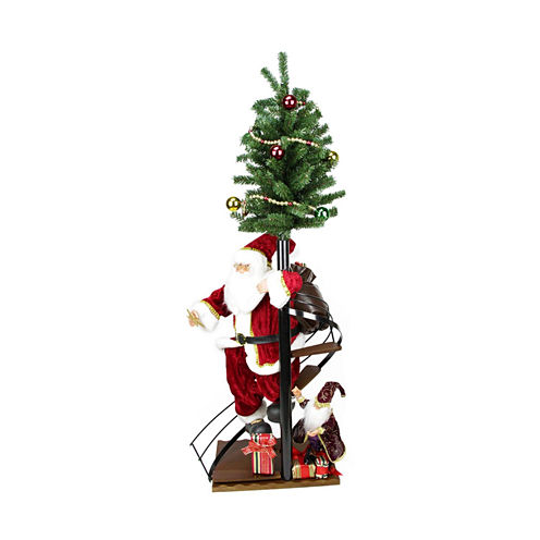 """50"""" Santa Claus On Spiral Staircase with Tree & Elf Figurine On Wooden Base"""