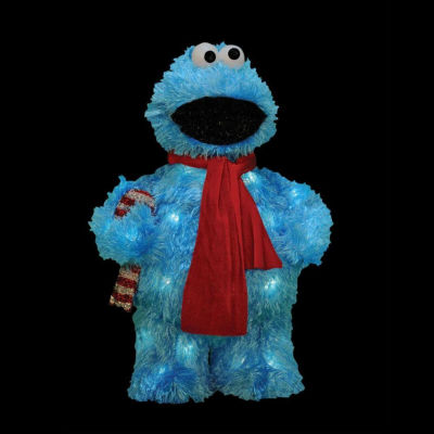"18"" Pre-Lit Soft Faux Fur Sesame Street Cookie Monster Yard Art"