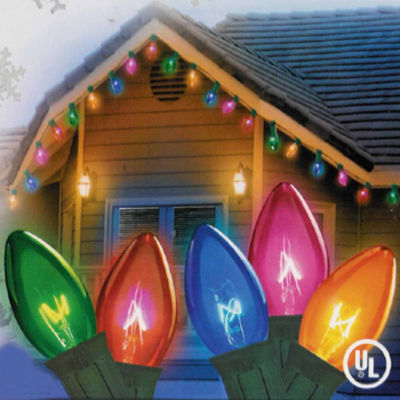 Set Of 25 Transparent Multi-Color C7 Christmas Lights with Green Wire