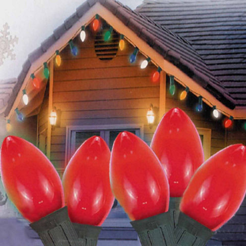 "Set Of 25 Opaque Red C7 Christmas Lights 12"" BulbSpacing 22 Wag with Green Wire"""