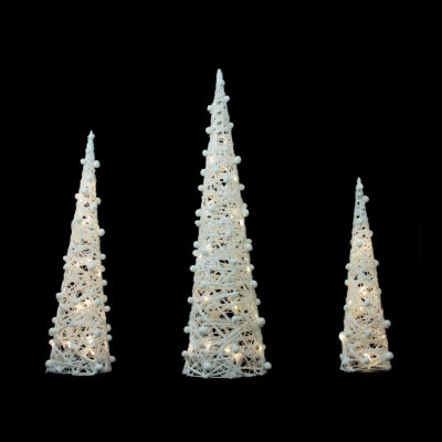 """39.25"""" White & Silver Glittered LED Lighted Cone Tree Decoration- Set of 3"""""""