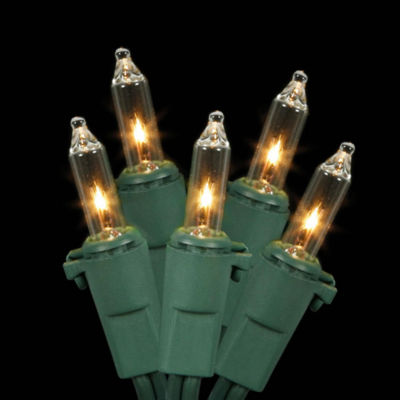 Set Of 100 Clear Mini Christmas Lights With Green Wire