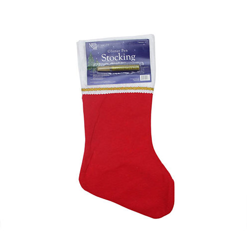"""19"""" Traditional Red Customizable Stocking with Gold Glitter Pen"""