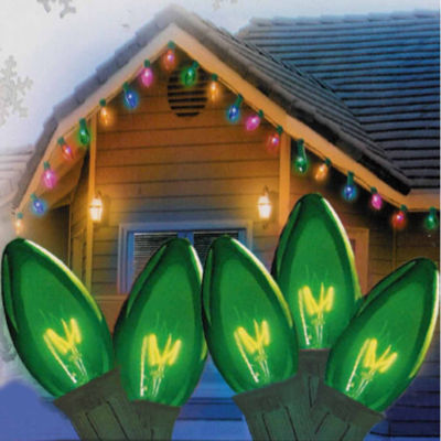 """Set Of 25 Transparent Green C9 Christmas Lights 12"""" Spacing with Green Wire"""""""
