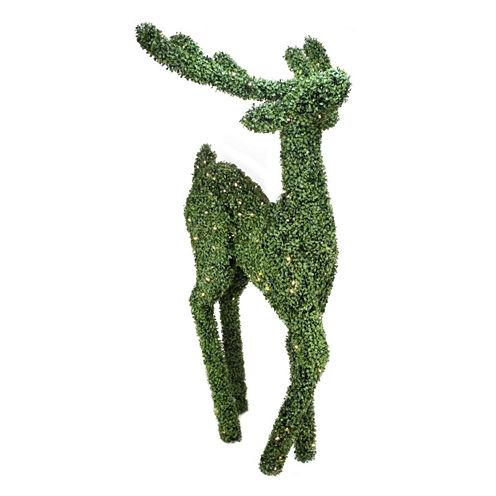 6' Pre-Lit Boxwood Sitting Reindeer Yard Art withWarm White LED Lights