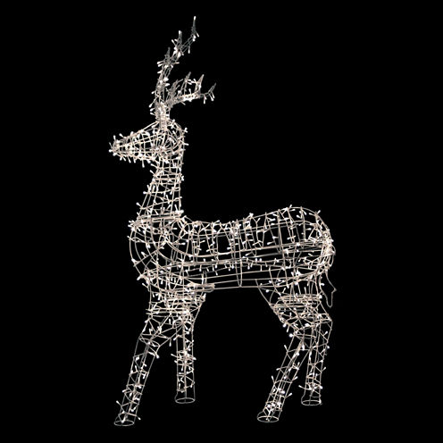 "60"" White LED Lighted Sitting Reindeer Outdoor Christmas Decoration with Warm White Lights"""