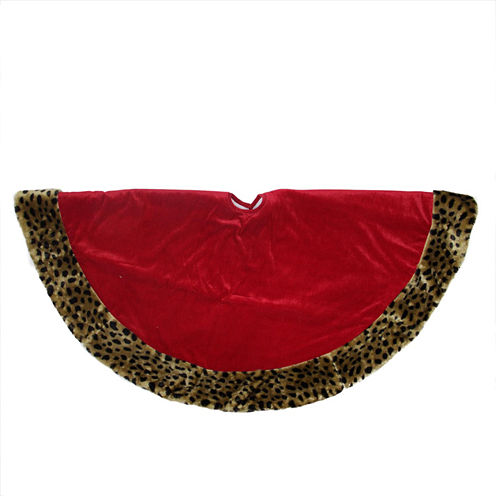 "48"" Diva Safari Red Velveteen With Plush Cheetah Print Christmas Tree Skirt"