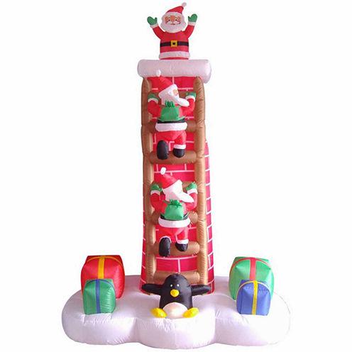7' Inflatable Animated Santa Trio On Chimney Ladder Lighted Yard Art