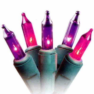 "Set Of 50 Pink Purple Princess Mini Christmas Lights 2.5"" Spacing with Green Wire"