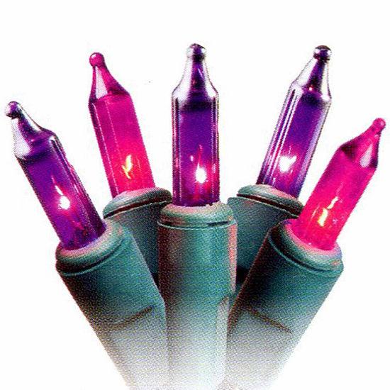 set of 50 pink purple princess mini christmas lights 25 spacing with green wire