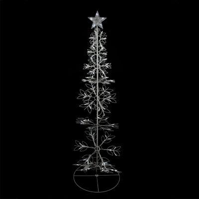 6' Cool White LED Lighted Outdoor Meteor Effect Snowflake Hoop Christmas Tree Yard Art