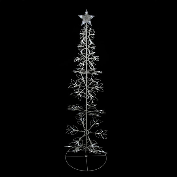 6' Cool White LED Lighted Outdoor Meteor Effect Snowflake Hoop Christmas Tree Yard Art