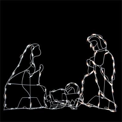 "25.5"" Pre-Lit White Holy Family Nativity Scene Yard Art"""