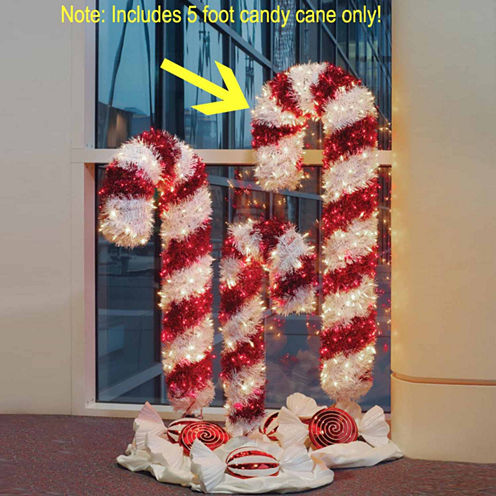 5' Pre-Lit Tinsel Candy Cane Yard Art with Clear &Red Lights