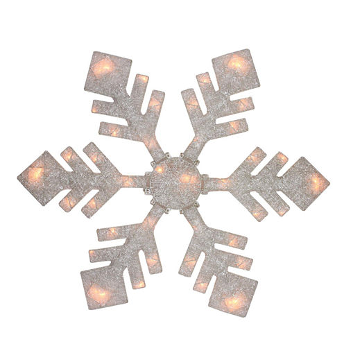 "40"" Lighted Winter White Snowflake Yard Art"""