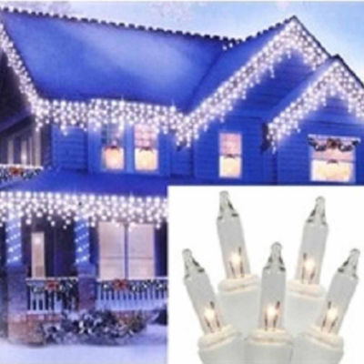 """Set Of 300 Heavy Duty Clear Icicle Christmas Lights 3"""" Spacing with White Wire"""