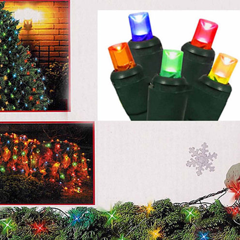 4' X 6' Multi-Color Wide Angle LED Net Style Christmas Lights with Green Wire