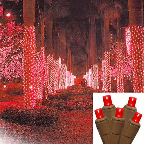 2' X 8' Red LED Net Style Tree Trunk Wrap Christmas Lights with Brown Wire