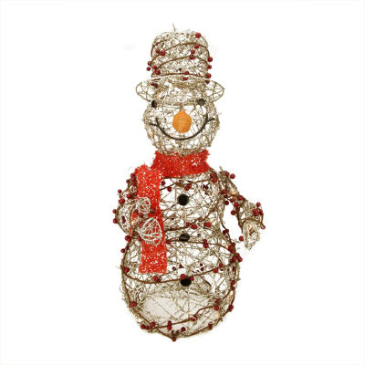 "28"" Lighted Champagne Gold Glittered Rattan BerrySnowman Yard Art"""