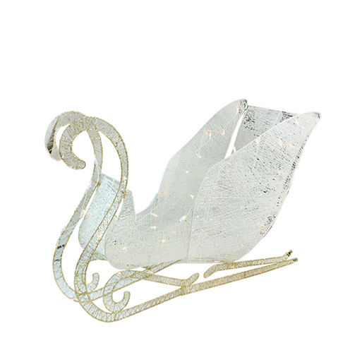 "41"" Elegant White Glittering Lighted Christmas Sleigh Yard Art"""