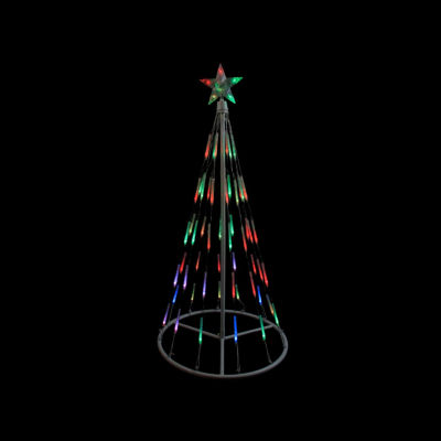 4' White Single Tier Bubble Cone Christmas Tree Lighted Yard Art - Multi Lights