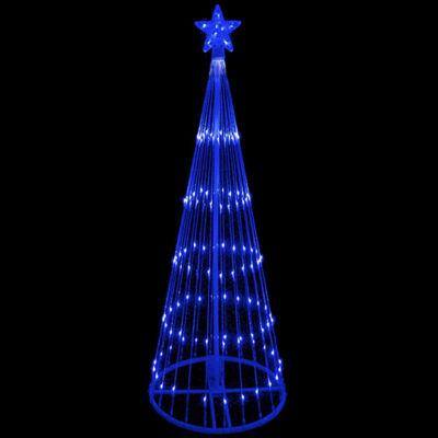 9' Blue LED Lighted Show Cone Christmas Tree YardArt