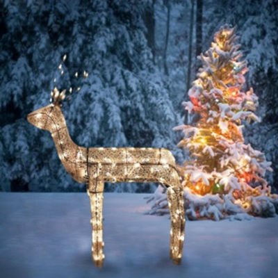 "48"" 3-D Glitter Animated Sitting Buck Reindeer Lighted Yard Art with Clear Lights"""