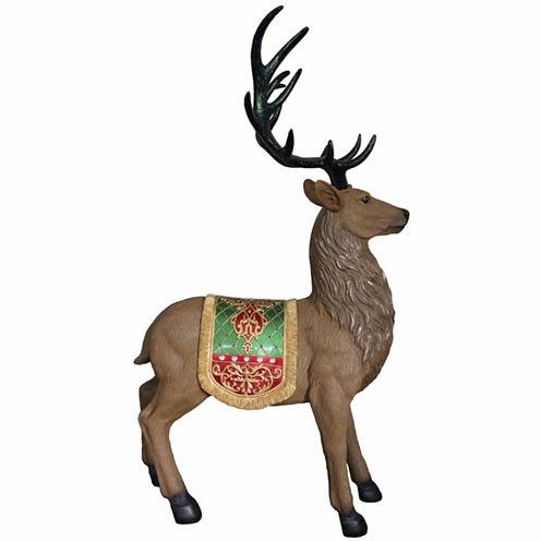 "60"" Commercial Grade Sitting Reindeer Fiberglass Christmas Decoration"""
