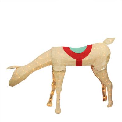 """44"""" Pre-Lit Rustic Burlap Feeding Reindeer Yard Art"""""""