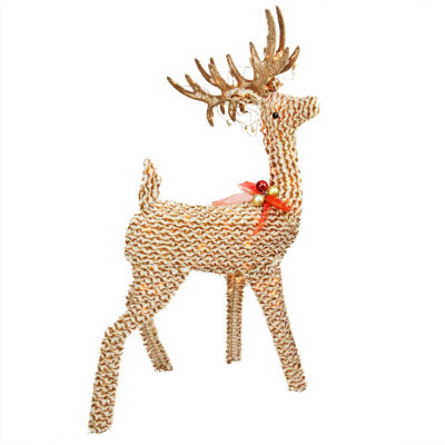 "39"" Pre-Lit Brown & White Striped Chenille Reindeer Yard Art"""