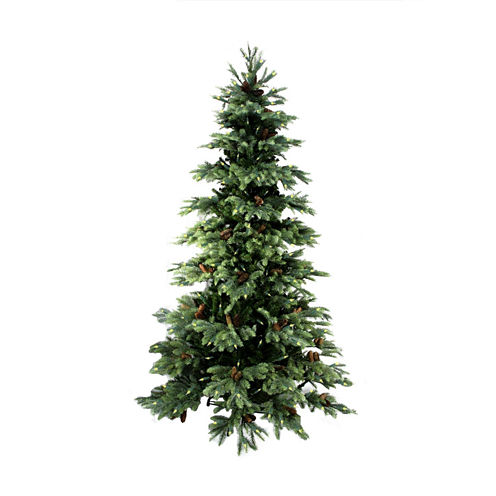 10' Pre-Lit New England Pine Medium Artificial Christmas Tree With Pine Cones with Clear Lights