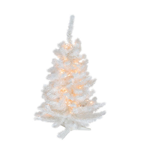 3' Pre-Lit Snow White Artificial Christmas Tree -Candlelight Clear LED Lights