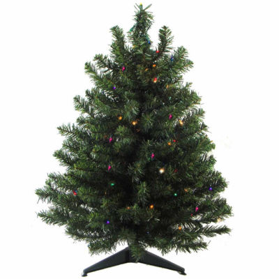 3' Pre-Lit Battery Operated Pine Artificial Christmas Tree with Multi-Color LED Lights