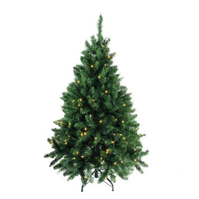 "4.5' x 37"" Pre-Lit Buffalo Fir Medium Artificial Christmas Tree with Warm White LED Lights"""