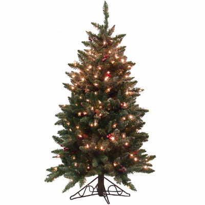 4.5' Pre-Lit Frosted Edina Slim Artificial Christmas Tree with Clear Lights