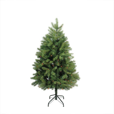 "4' x 34"" Pre-Lit Noble Fir Full Artificial Christmas Tree - Multi-Color Lights"""