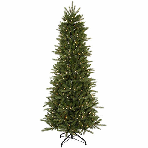 6.5' Pre-Lit Slim Vermont Fir Instant Shape Artificial Christmas Tree with Clear